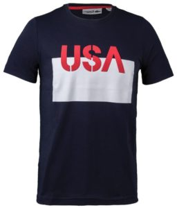 Lacoste Men's USA Tee Navy Blue and White