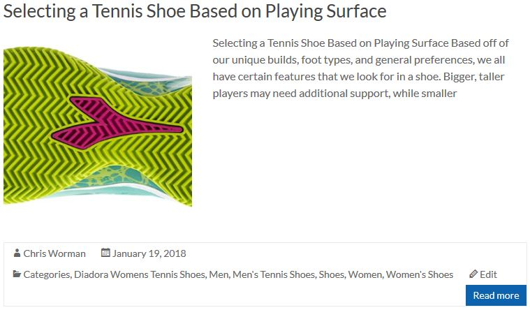 Selecting a Tennis Shoe Based on Playing Surface