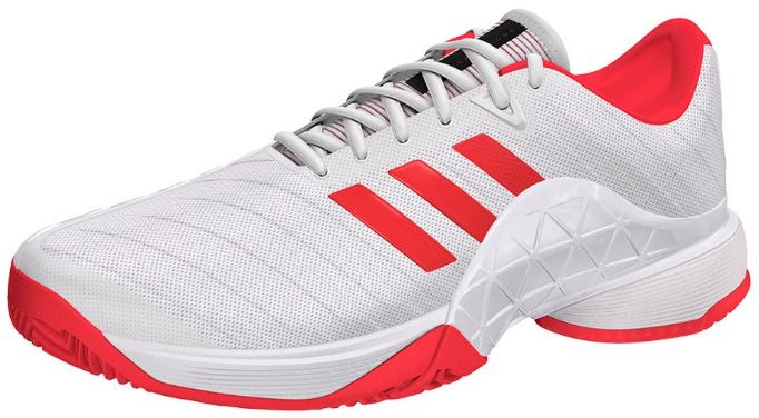 adidas Women's Barricade 2018 Tennis Shoes White and Scarlet