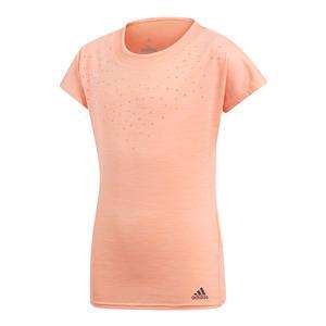 Girls Dotty Tennis Tee Chalk Coral