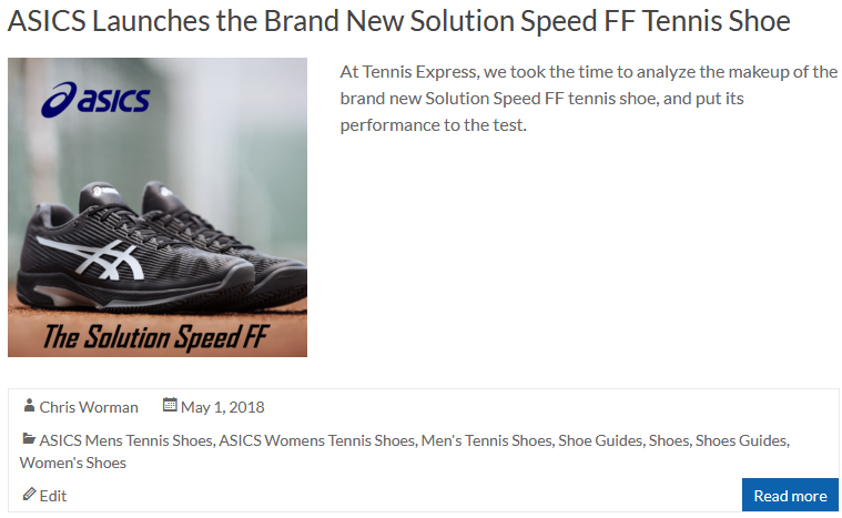 ASICS Launches the Brand New Solution Speed FF Tennis Shoe