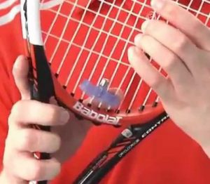 Tennis Racquet Dampener Installed