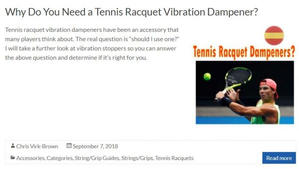 Tennis Racquet Vibration Dampener Blog