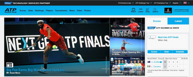 ATP World Tour Website front page