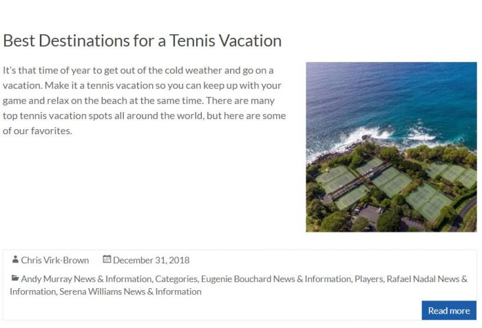 Best Destinations For Tennis Blog