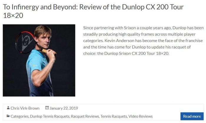 Dunlop CX 200 Tour 18x20 Racquet Review Snippet