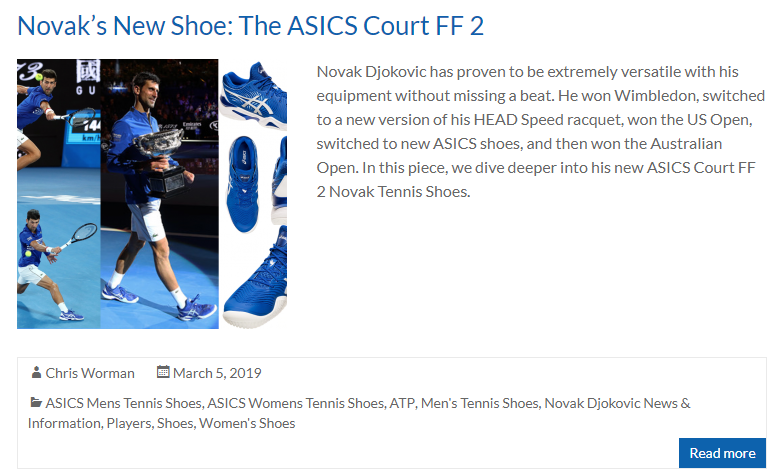 Novak's New Shoe: The ASICS Court FF 2