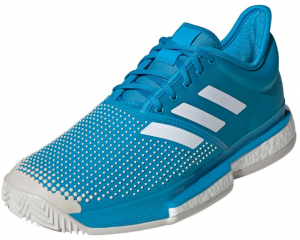 Adidas Men's SoleCourt Boost Clay Tennis Shoes in Shock Cyan and White