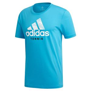 Adidas Mens Category Graphic Tennis Tee in Shock Cyan